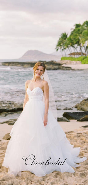 Sweetheart Strapless Beach Wedding Dresses, Tulle A-line Elegant Wedding Dresses