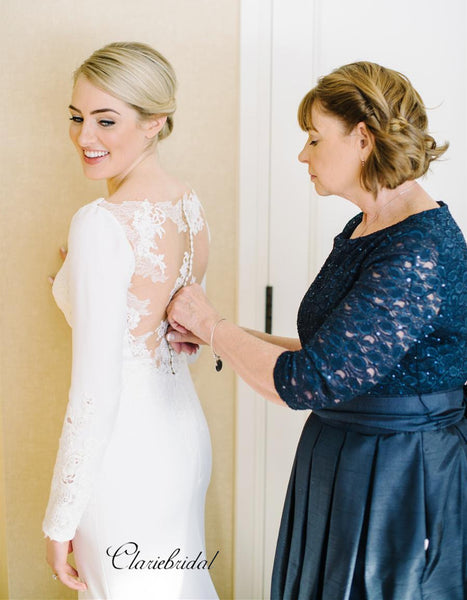 Long Sleeves Lace Wedding Dresses, Simple Popular Bridal Gowns, Wedding Dresses