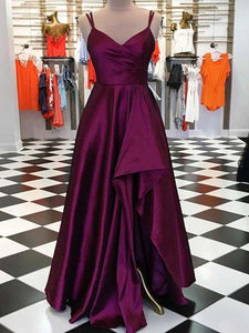 Long Slit Strap Prom Dresses, Cheap Prom Dresses, Party Evening Dresses
