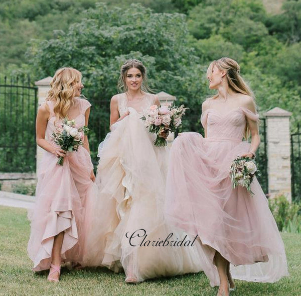 Pink Off The Shoulder Chiffon A-line Bridesmaid Dresses, Wedding Guest Dresses