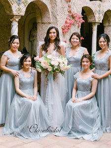 Tulle A-line Bridesmaid Dresses, Fashion Lace Bridesmaid Dresses