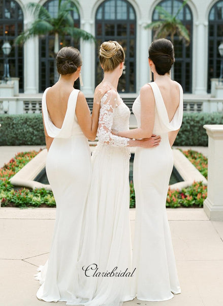White Jersey Mermaid Bridesmaid Dresses, Popular Custom Bridesmaid Dresses