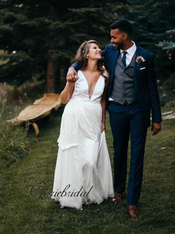 Simple Design Tulle Wedding Dresses, Cheap Sexy Deep V-neck Wedding Dresses