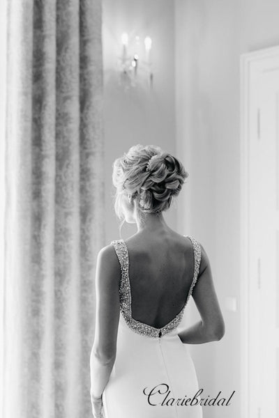 Open Back Beaded Wedding Dresses, Popular Simple Wedding Dresses