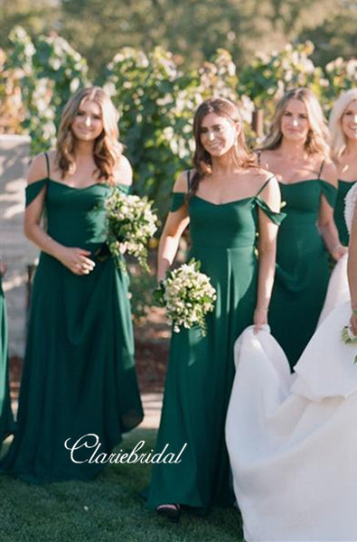Off The Shoulder Bridesmaid Dresses, Green Fashion Bridesmaid Dresses
