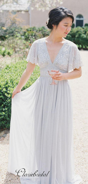 Elegant Appliques Bridesmaid Dresses, V-neck Lace Bridesmaid Dresses