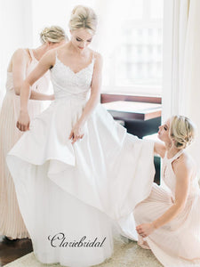 Graceful Straps Lace Wedding Dresses, Popular A-line Wedding Dresses