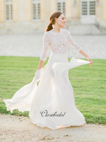 Long Sleeves Elegant Lace Wedding Dresses, Graceful Lace Bridal Gowns