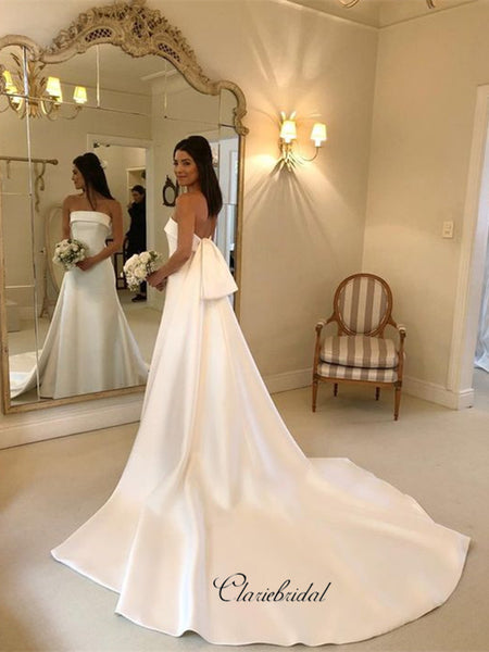 Elegant Strapless A-line Wedding Dresses, Satin Train Wedding Dresses