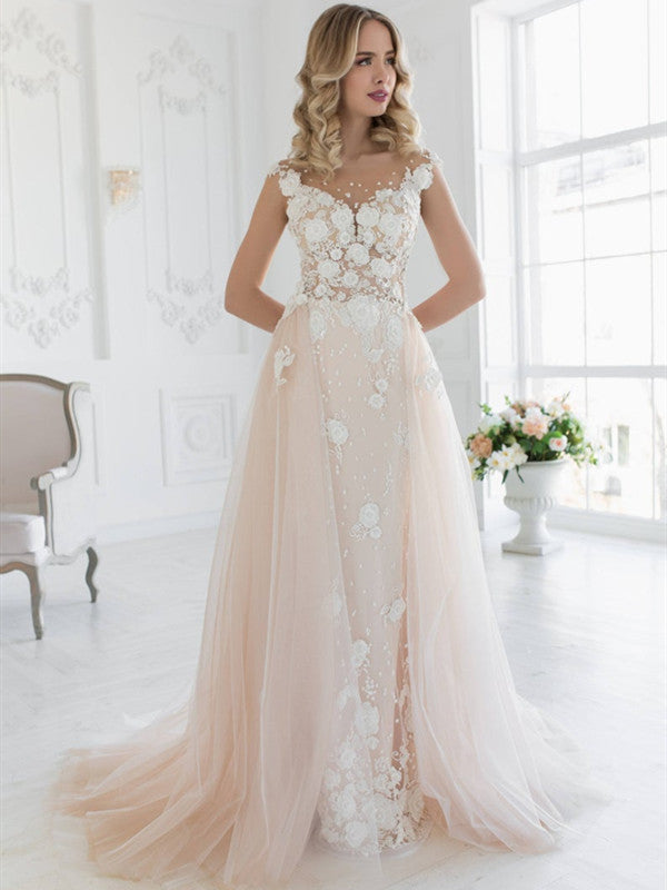 Appliques Elegant Wedding Dresses, Lace Tulle 2020 Wedding Dresses