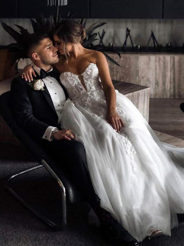 A-line Strapless Tulle Wedding Dresses, Lace Sweetheart New Bridal Gowns