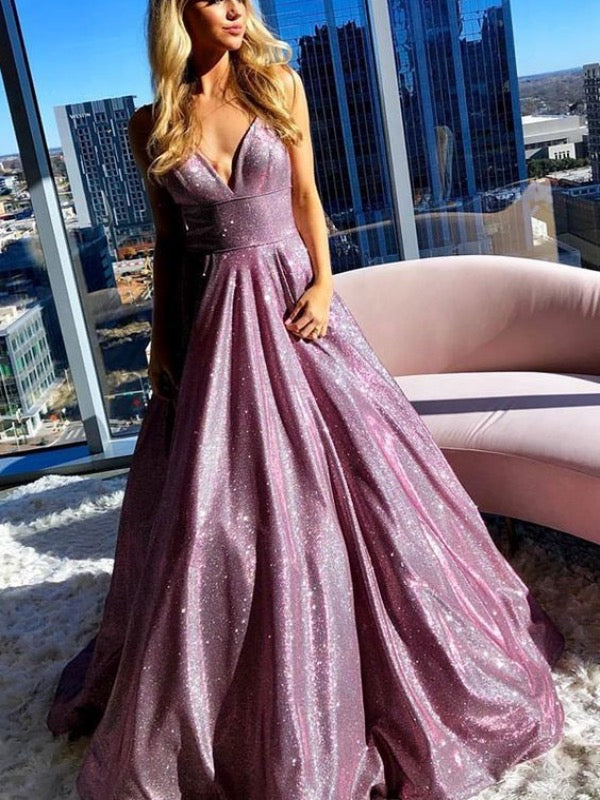 Glitter Newest Prom Dresses, Sparkly 2020 Long Prom Dresses, Popular Prom Dresses