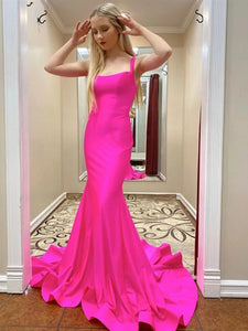 Straps Hot Pink Long Mermaid Prom Dresses, Newest Prom Dresses, Long Prom Dresses