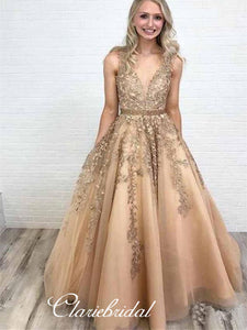 Elegant Lace A-line Long Prom Dresses, Evening Party Modest Prom Dresses