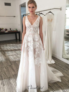 Elegant Appliques Wedding Dresses, Popular A-line Wedding Dresses