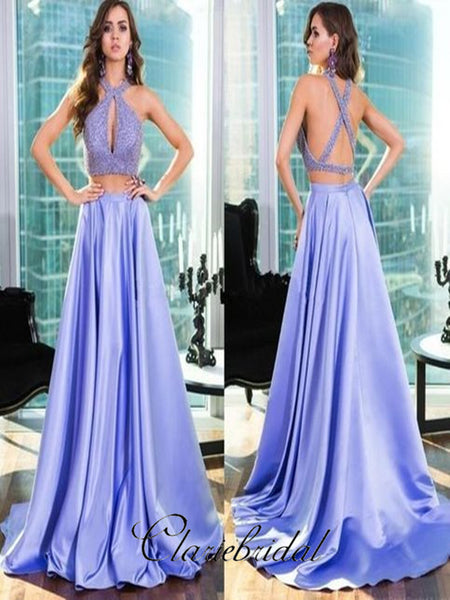 2 pieces Satin A-line Prom Dresses, 2019 Newest Long Prom Dresses