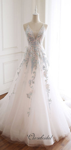 Elegant A-line Tulle Lace Prom Dresses, Newest Beaded 2020 Prom Dresses Long