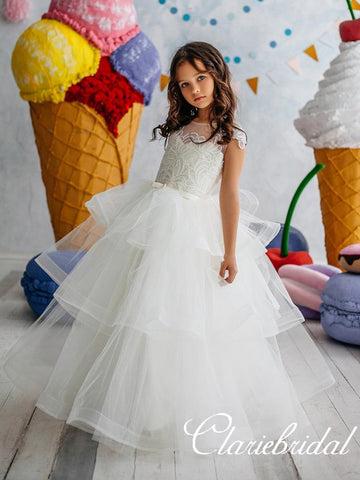 Lovely Lace Top Ball Gown Tulle Flower Girl Dresses