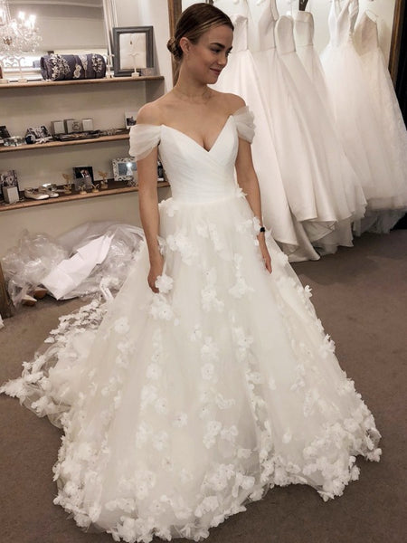 Off The Shoulder A-line Wedding Dresses, Elegant Appliques Wedding Dresses