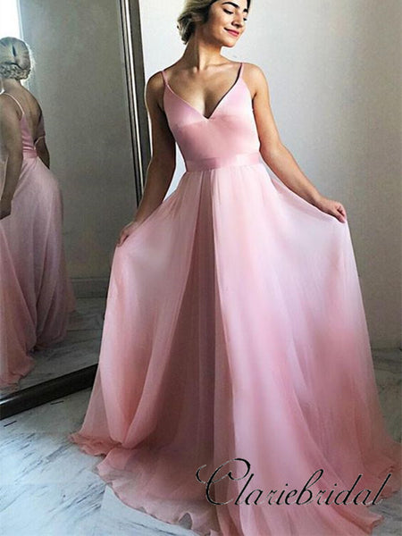 Simple Prom Dresses 2019, Cheap Prom Dresses, Strap Prom Dresses