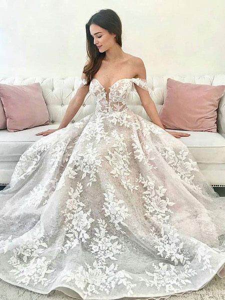 Off The Shoulder Lace Wedding Dresses, A-line 2020 Wedding Dresses, Bridal Gowns