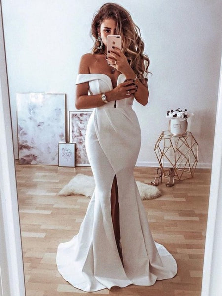 Evening Party Off The Shoulder Prom Dresses, Mermaid 2020 Newest Long Prom Dresses