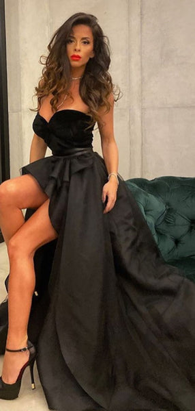 Strapless Two Pieces Long Prom Dresses, Newest Fashion Evening Party Dresses 2021
