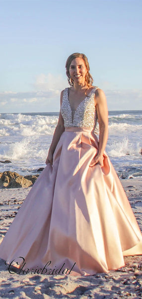 Popular A-line Long Prom Dresses, Beaded Fashion Prom Dresses 2020