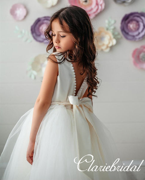 Round Neck Pearls A-line Tulle Satin Flower Girl Dresses