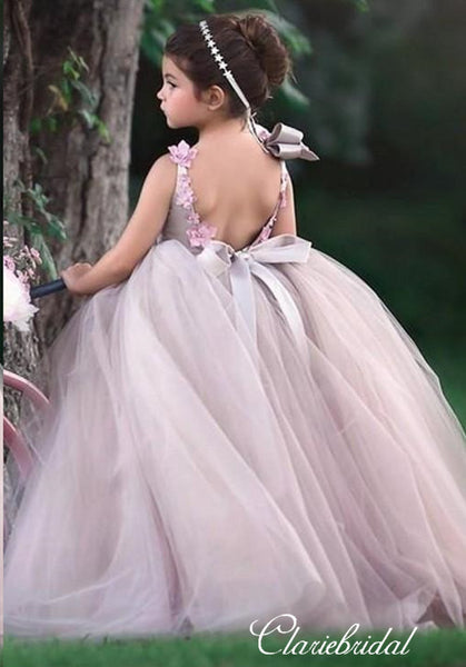 Lovely Long Tulle Satin Appliques Beaded Flower Girl Dresses