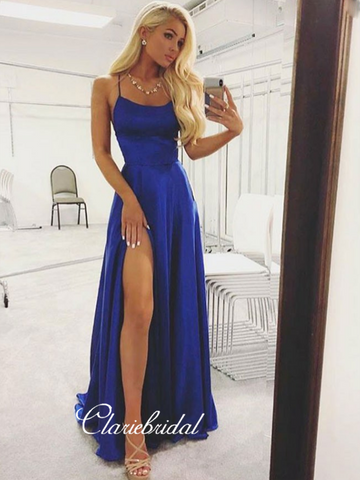 Trendy Royal Blue Slit Prom Dresses, Open Back Sexy Prom Dresses