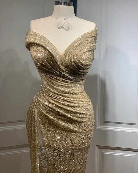 Strapless Champagne Gold Sequin Beaded Prom Dresses, Long Prom Dresses, Popular Prom Dresses