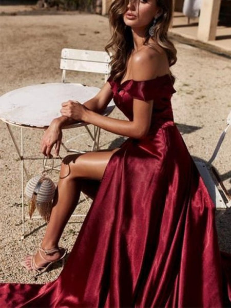 Off Shoulder High Slit Burgundy Prom Dresses, Long Prom Dresses, Popular Cheap Prom Dresses