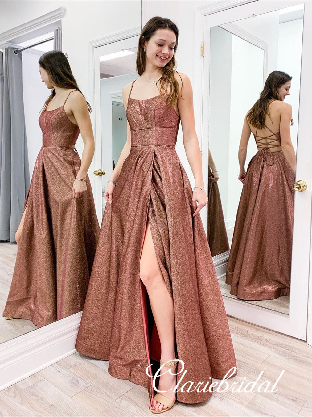 Straps Lace Up Shemmering Fabric Long Prom Dresses, 2020 Prom Dresses, Cheap Prom Dresses, Popular Prom Dresses