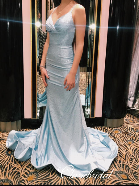 Spaghetti Long Mermaid Light Blue Satin Beaded Prom Dresses, Gorgeous Prom Dresses, 2020 Prom Dresses