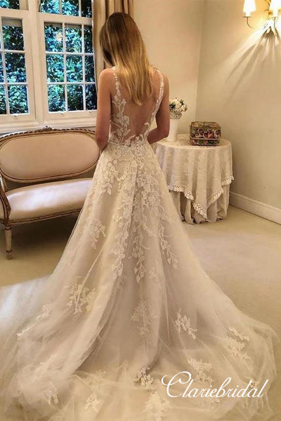V-neck Long A-line Lace Tulle Romantic Wedding Dresses, Bridal Gown