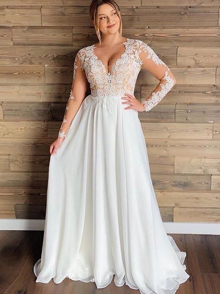 Long Sleeves Lace Chiffon Wedding Dresses, Simple Country Wedding Dresses, Bridal Gown