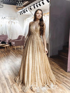 Spaghetti Long A-line Sequin Tulle Prom Dresses, Long Prom Dresses, Popular Prom Dresses