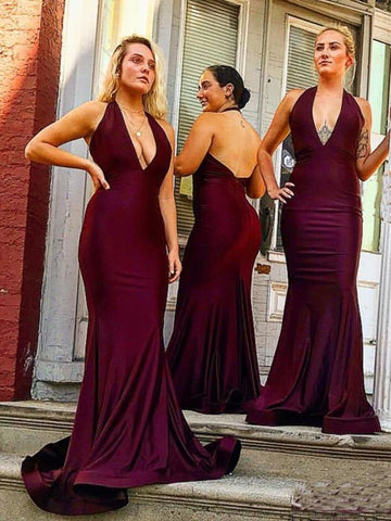 Deep V-neck Long Mermaid Elastic Satin Bridesmaid Dresses, Halter Long Bridesmaid Dresses