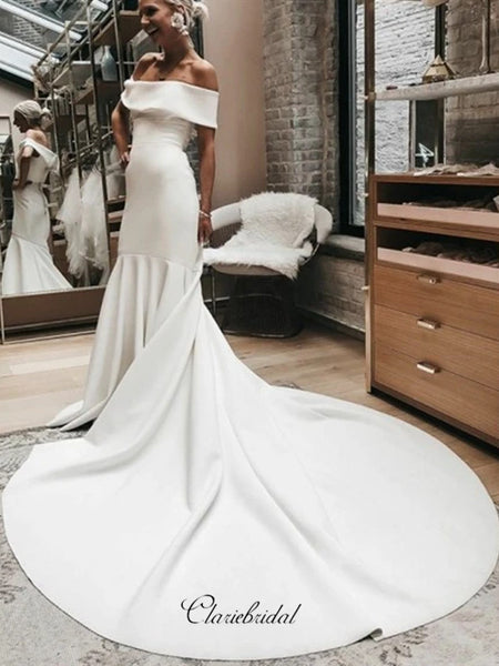 Off Shoulder Wedding Dresses, Popular Bridal Gowns, Simple Wedding Dresses