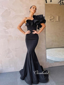 Popular One Shoulder Mermaid Long Prom Dresses, 2020 Newest Evening Party Prom Dresses