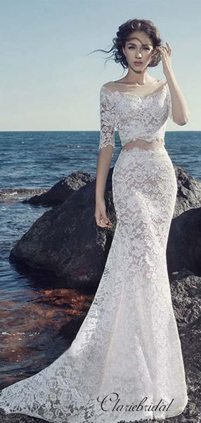 Two Pieces Lace Wedding Dresses, Half Sleeves Mermaid Wedding Dresses