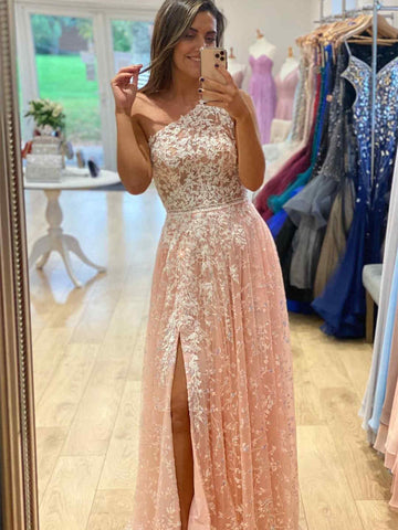 One Shoulder Long A-line Prom Dresses, Lace Prom Dresses, Cheap Prom Dresses, 2021 Prom Dresses