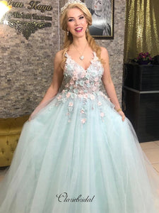 Modest Appliques Prom Dresses 2020, Straps Tulle Prom Dresses Long