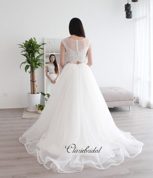 Cap Sleeves Two Pieces Lace Wedding Dresses, A-line Tulle Wedding Dresses