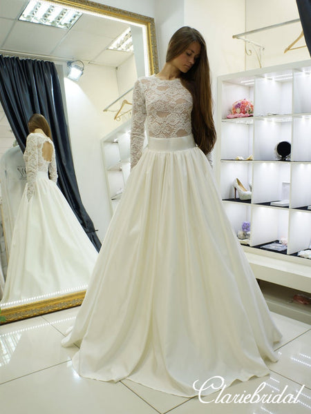 Long Sleeves Open Back Lace Top Satin Ivory Long Wedding Dresses