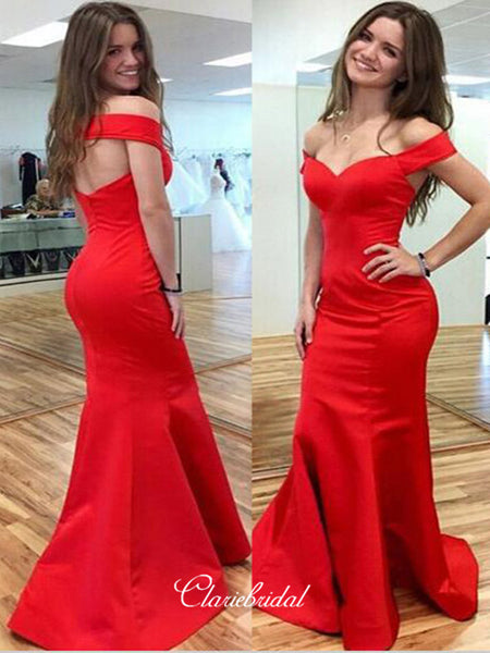 Off the Shoulder Red Color Long Prom Dresses, Mermaid Fashion Prom Dresses