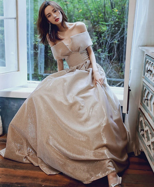 Off The Shoulder Shiny Long Prom Dresses, A-line Newest Prom Dresses