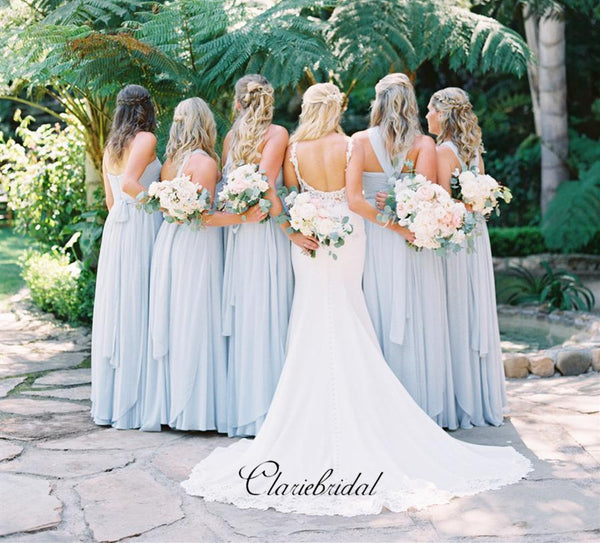 Blue Chiffon Bridesmaid Dresses, Mismatched Wedding Bridesmaid Dresses