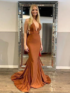 Popular Mermaid Long Prom Dresses, Sexy Open Back 2020 Newest Prom Dresses